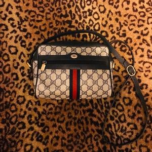 Vintage Gucci Gg Monogram Blue Cross Body Bag
